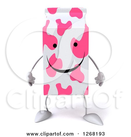 Clipart of a 3d Pink Spotted Strawberry Milk Carton Character - Royalty Free Illustration by Julos