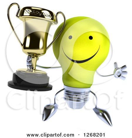 Clipart of a 3d Happy Yellow Light Bulb Character Jumping Holding a Trophy - Royalty Free Illustration by Julos