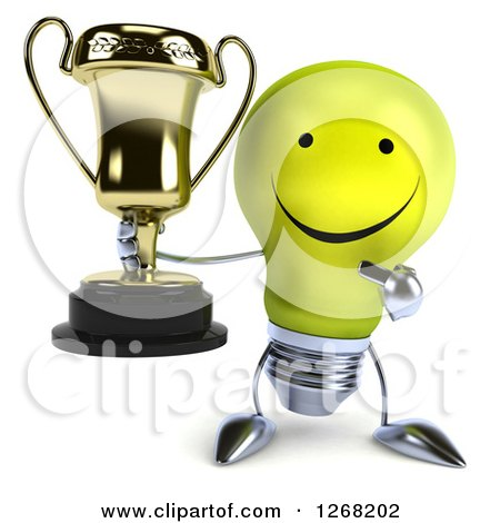 Clipart of a 3d Happy Yellow Light Bulb Character Pointing to and Holding a Trophy - Royalty Free Illustration by Julos
