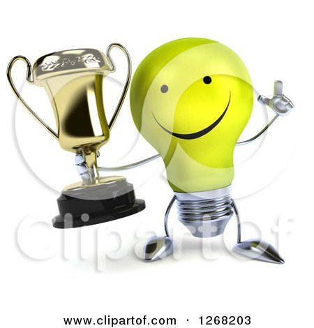 Clipart of a 3d Happy Yellow Light Bulb Character Holding up a Finger and a Trophy - Royalty Free Illustration by Julos