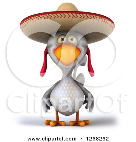 Clipart of a 3d White Mexican Chicken Wearing a Sombrero - Royalty Free Illustration by Julos