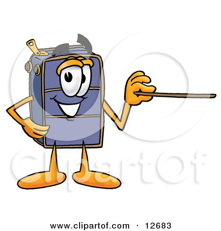 Clipart Picture of a Suitcase Cartoon Character Holding a Pointer Stick by Toons4Biz