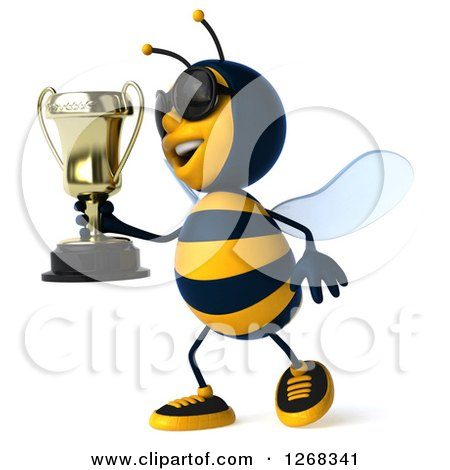 Clipart of a 3d Bee Wearing Sunglasses and Walking with a Trophy - Royalty Free Illustration by Julos