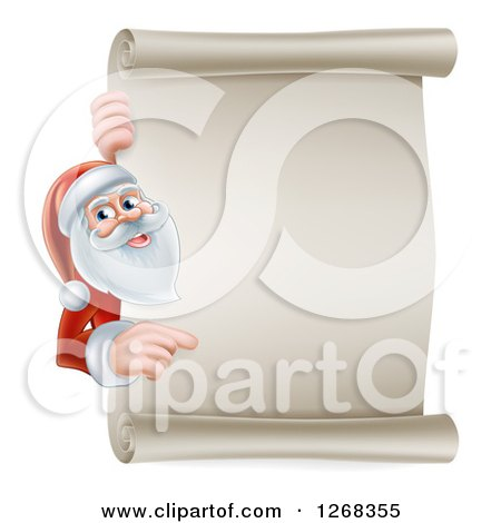 Clipart of Santa Clause Pointing Around a Blank Christmas Scroll Sign - Royalty Free Vector Illustration by AtStockIllustration