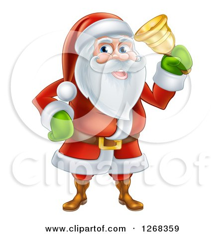 Clipart of Santa Clause Ringing a Christmas Charity Bell - Royalty Free Vector Illustration by AtStockIllustration