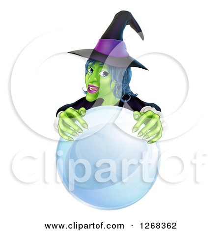 Clipart of a Green Halloween Witch Behind a Crystal Ball - Royalty Free Vector Illustration by AtStockIllustration