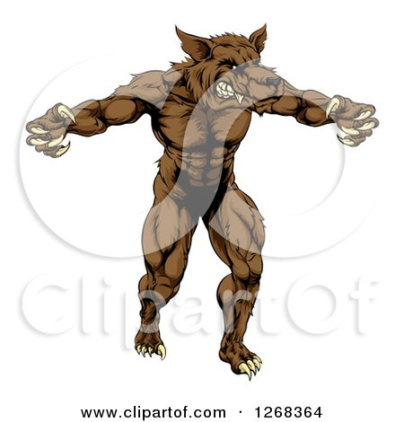 Clipart of a Muscular Brown Wolf Man Attacking - Royalty Free Vector Illustration by AtStockIllustration
