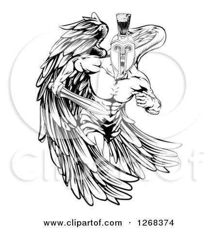 clipart of a black and white spartan trojan warrior guardian angel running with a sword. Black Bedroom Furniture Sets. Home Design Ideas