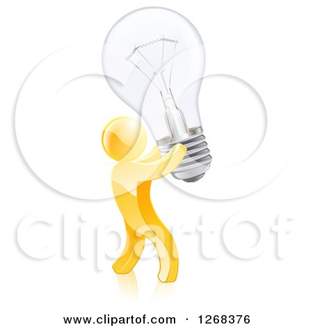 Clipart of a 3d Creative Gold Man Carrying a Light Bulb - Royalty Free Vector Illustration by AtStockIllustration