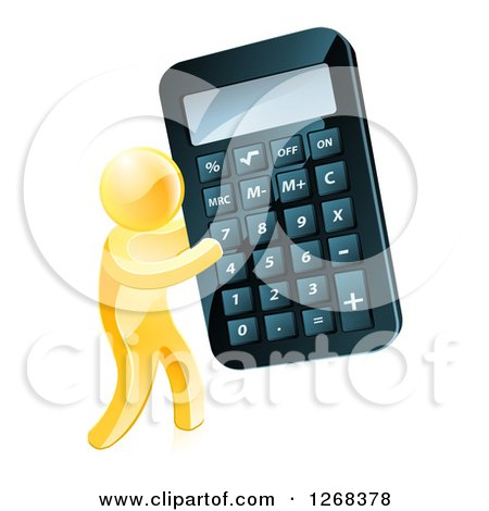 Clipart of a 3d Gold Man Carrying a Giant Calculator - Royalty Free Vector Illustration by AtStockIllustration