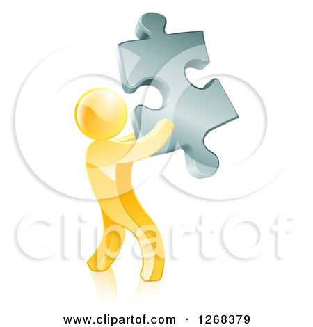 Clipart of a 3d Gold Man Holding a Silver Puzzle Piece - Royalty Free Vector Illustration by AtStockIllustration