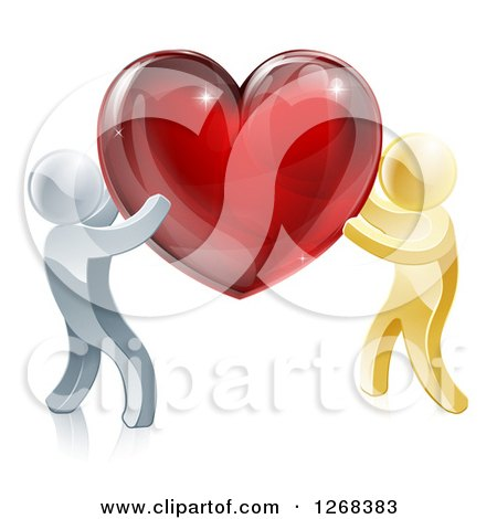 Clipart of 3d Silver and Gold People Carrying a Red Heart - Royalty Free Vector Illustration by AtStockIllustration