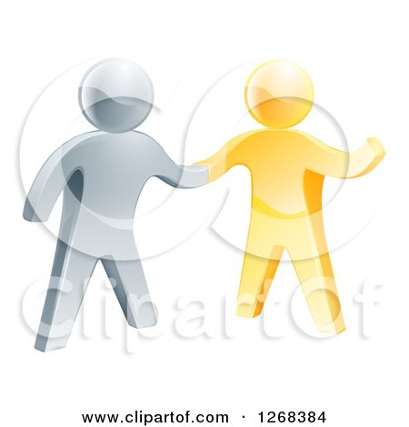 Clipart of a 3d Friendly Silver Man Shaking Hands with a Gold Guy - Royalty Free Vector Illustration by AtStockIllustration