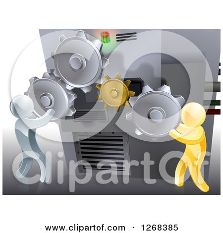 Clipart of 3d Gold and Silver Men Adjusting Gear Cogs on a Machine - Royalty Free Vector Illustration by AtStockIllustration
