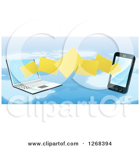 Clipart of a 3d Cell Phone and Laptop Transfering Files over a Map - Royalty Free Vector Illustration by AtStockIllustration