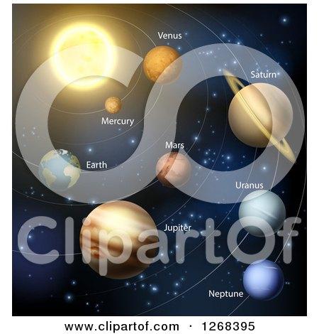 Clipart of 3d Solar System Orbiting the Sun - Royalty Free Vector Illustration by AtStockIllustration