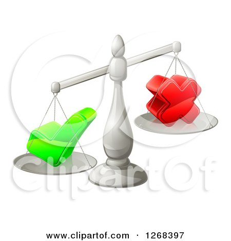 Clipart of 3d Silver Scales Balancing a Check Mark and X Cross - Royalty Free Vector Illustration by AtStockIllustration