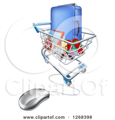 Clipart of a Vacation Travel Booking Shopping Cart with Luggage and a Computer Mouse - Royalty Free Vector Illustration by AtStockIllustration