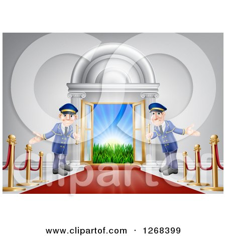 Clipart of a Venue Entrance with a VIP Red Carpet and Welcoming Doormen - Royalty Free Vector Illustration by AtStockIllustration