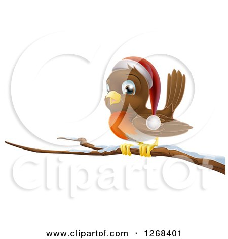 Clipart of a Happy Christmas Robin Wearing a Santa Hat on a Snow Covered Branch - Royalty Free Vector Illustration by AtStockIllustration