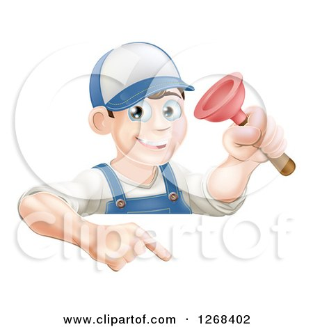 Clipart of a Brunette White Male Plumber Holding a Plunger over a Sign - Royalty Free Vector Illustration by AtStockIllustration