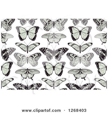 Clipart of a Seamless Background Pattern of Black and Green Butterflies on White - Royalty Free Vector Illustration by AtStockIllustration