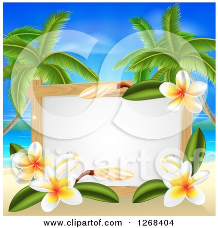 Clipart of a Blank Sign with Plumeria Flowers on a Tropical Beach with Palm Trees - Royalty Free Vector Illustration by AtStockIllustration