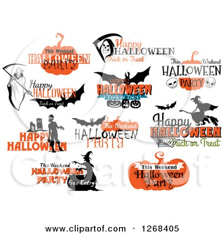 Clipart of Halloween Greetings - Royalty Free Vector Illustration by Vector Tradition SM