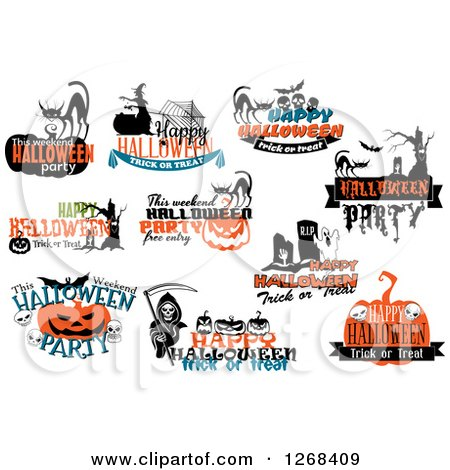 Clipart of Halloween Party and Greeting Designs - Royalty Free Vector Illustration by Vector Tradition SM