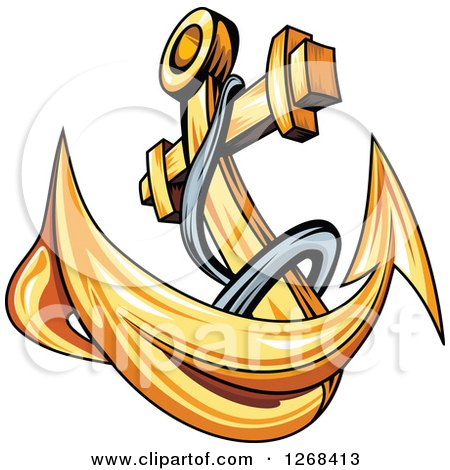 Clipart of a Golden Ships Anchor and Rope 2 - Royalty Free Vector Illustration by Vector Tradition SM