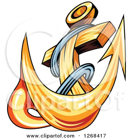 Clipart of a Golden Ships Anchor and Rope 4 - Royalty Free Vector Illustration by Vector Tradition SM