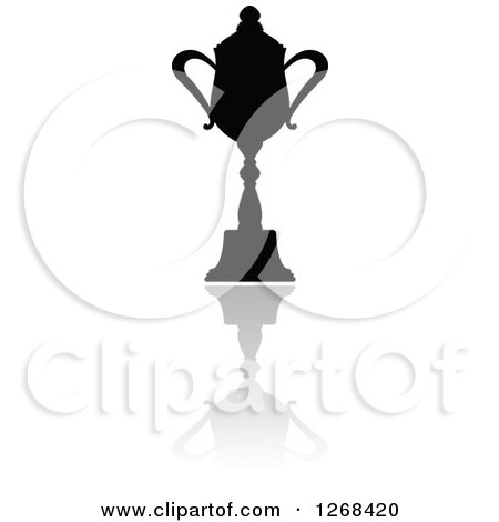 Clipart of a Black Silhouetted Trophy or Urn and Reflection 6 - Royalty Free Vector Illustration by Vector Tradition SM
