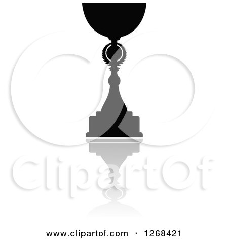 Clipart of a Black Silhouetted Urn or Trophy Cup and Reflection 5 - Royalty Free Vector Illustration by Vector Tradition SM
