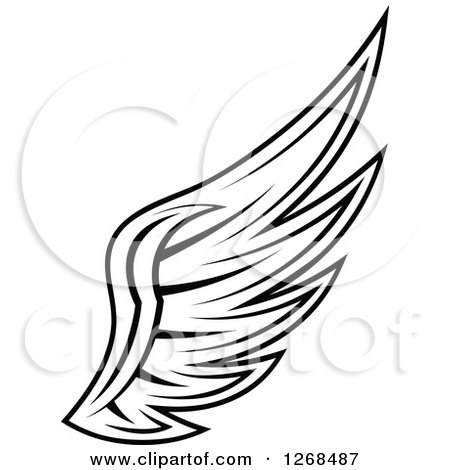 Clipart of a Black and White Feathered Wing 6 - Royalty Free Vector Illustration by Vector Tradition SM