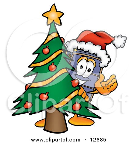 Clipart Picture of a Suitcase Cartoon Character Waving and Standing by a Decorated Christmas Tree by Toons4Biz