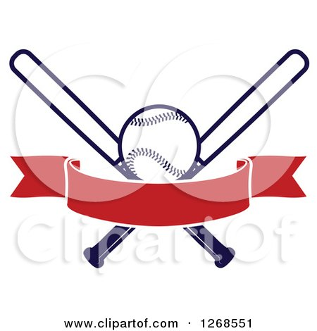 clipart of a navy blue baseball and crossed bats with a blank red rh clipartof com Wooden Baseball Bat Baseball Bat Red