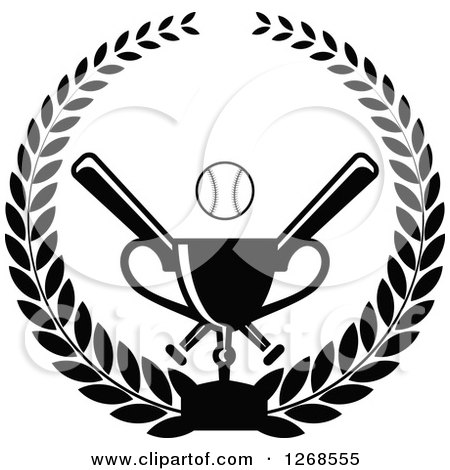 Clipart of a Black and White Championship Trophy and Baseball with Crossed Bats in a Wreath - Royalty Free Vector Illustration by Vector Tradition SM