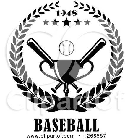 Clipart of a Black and White Championship Trophy, Text, Stars and Baseball with Crossed Bats in a Wreath - Royalty Free Vector Illustration by Vector Tradition SM