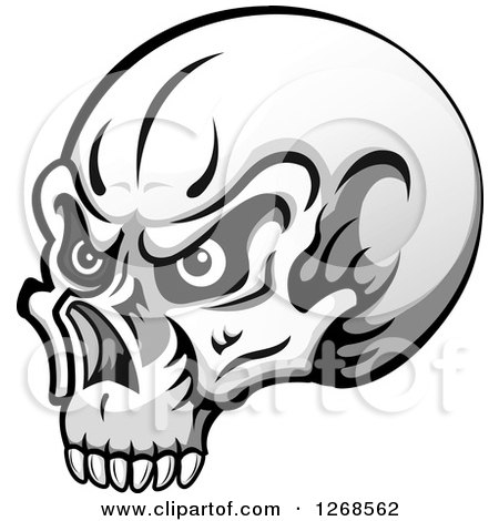 Grayscale Human Skull with Eyes Posters, Art Prints