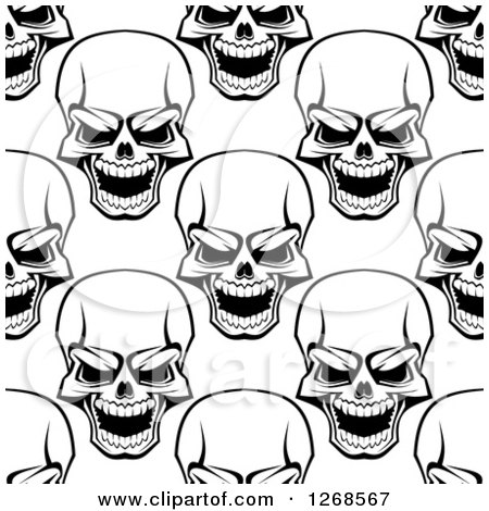 Seamless Background Pattern of Black and White Human Skulls Posters, Art Prints