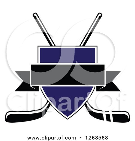 Clipart of a Crossed Black and White Hockey Sticks Behind a Blue Shield with a Blank Black Banner - Royalty Free Vector Illustration by Vector Tradition SM