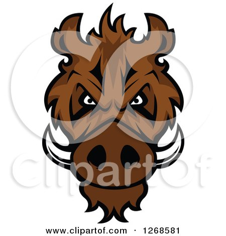 Clipart of a Brown Vicious Razorback Boar Mascot Head - Royalty Free Vector Illustration by Vector Tradition SM