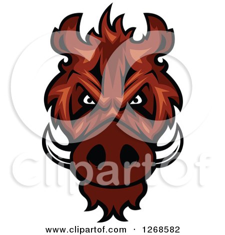 Clipart of a Vicious Razorback Boar Mascot Head - Royalty Free Vector Illustration by Vector Tradition SM