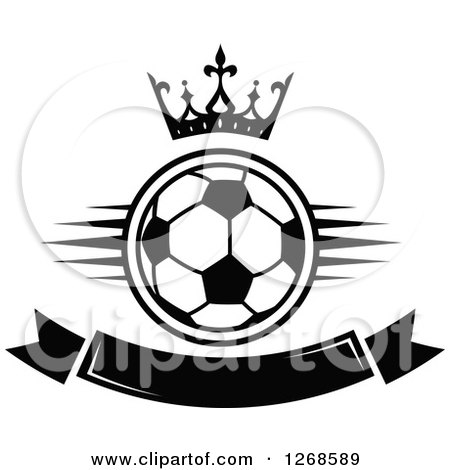 Clipart of a Black and White Crown over a Soccer Ball and Blank Banner - Royalty Free Vector Illustration by Vector Tradition SM