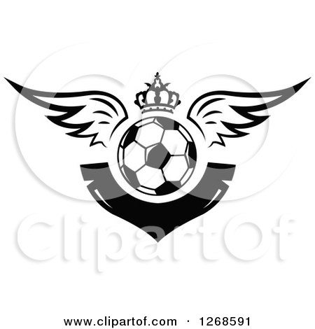 Clipart of a Black and White Winged Soccer Ball with a Crown and Blank V Shaped Banner - Royalty Free Vector Illustration by Vector Tradition SM