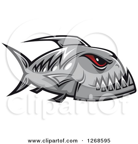 Clipart of a Red Eyed Gray Piranha Fish - Royalty Free Vector Illustration by Vector Tradition SM