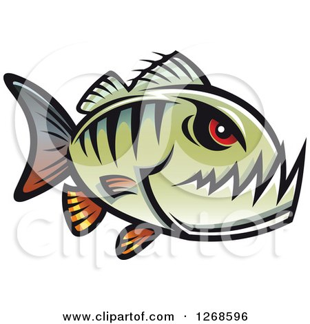 Clipart of a Red Eyed Green Piranha Fish - Royalty Free Vector Illustration by Vector Tradition SM