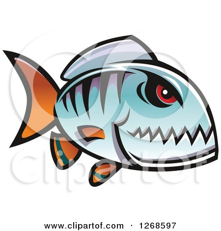 Clipart of a Red Eyed Blue Piranha Fish - Royalty Free Vector Illustration by Vector Tradition SM