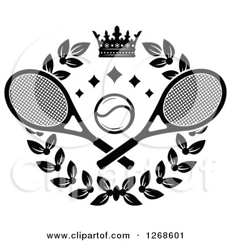 Clipart of a Black and White Crown and Laurel Wreath with a Tennis Ball and Crossed Rackets - Royalty Free Vector Illustration by Vector Tradition SM