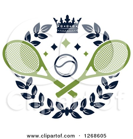 Clipart of a Crown and Laurel Wreath with a Tennis Ball and Crossed Rackets - Royalty Free Vector Illustration by Vector Tradition SM